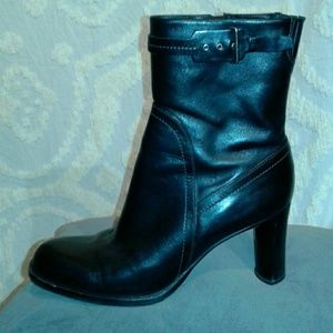 Cole Haan black leather buckle boots like new!